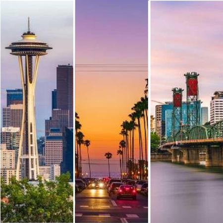 Photo collage with the Space Needle, a San Diego sunset, and the Portland Interstate bridge