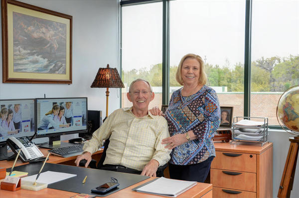 Two people in an office