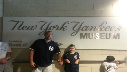 My son Tyler and I at the Yankee Museum inside Yankee Stadium.