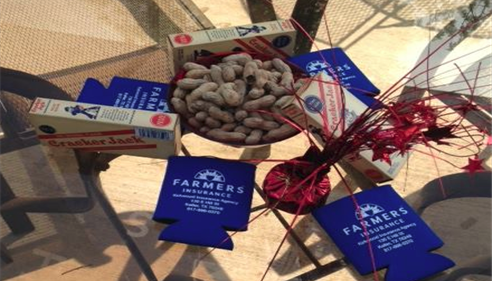 Crackerjacks and Farmers Insurance beverage koozies