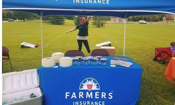 A nice shot of the Farmers Insurance booth