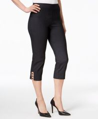 Image of JM Collection Petite Tummy-Control Lattice-Hem Capri Pants, Created for Macy's