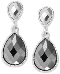 Image of INC International Concepts Earrings, Silver-Tone Double Teardrop Earrings