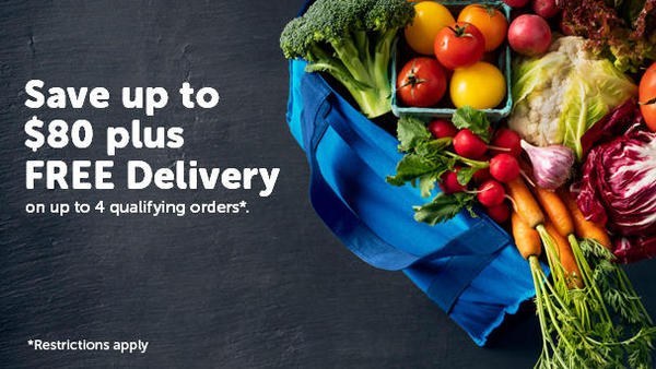 "Bag of fresh vegetables.  ""Save up to $80 plus FREE Delivery on up to 4 qualifying orders. Restrictions Apply"""