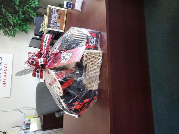 Gift basket on a desk