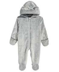 Image of First Impressions Baby Boys & Girls Hooded Faux-Fur Footed Snowsuit, Created for Macy's