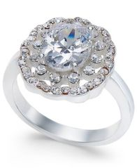 Image of Charter Club Silver-Tone Crystal Cluster Ring, Created for Macy's