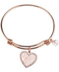 Image of Unwritten Heart & Crystal Charm Bangle Bracelet in Rose Gold-Tone Stainless Steel