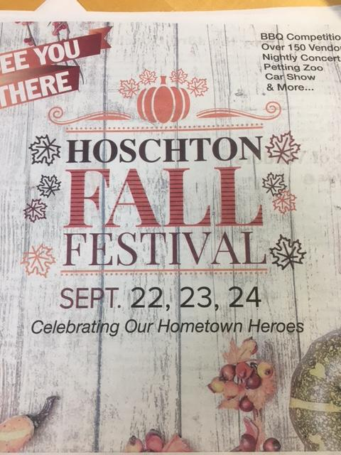 Newspaper showing Hoschton Fall festival