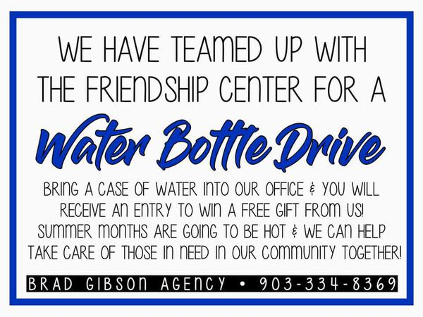 Water Bottle Drive flier with details.