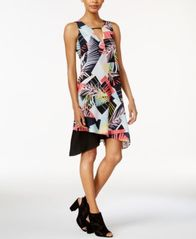 Image of Bar III Asymmetrical Contrast Dress, Created for Macy's