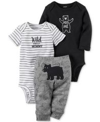 Image of Carter's 3-Pc. Cotton Hug Me Bear Bodysuits & Pants Set, Baby Boys