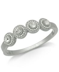 Image of Charter Club Silver-Tone Crystal & Imitation Pearl Cluster Bangle Bracelet, Created for Macy's
