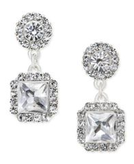 Image of Charter Club Silver-Tone Square Crystal Drop Earrings, Created for Macy's