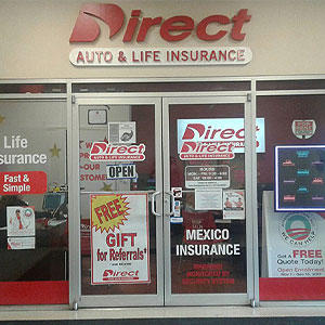 Front of Direct Auto store at 11100 Leopard Street, Corpus Christi