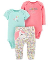 Image of Carter's Baby Girls 3-Pc. Cotton Unicorn Bodysuits & Pants Set