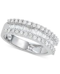 Image of Diamond Baguette Cluster Band (1 ct. t.w.) in 14k White Gold or Yellow Gold