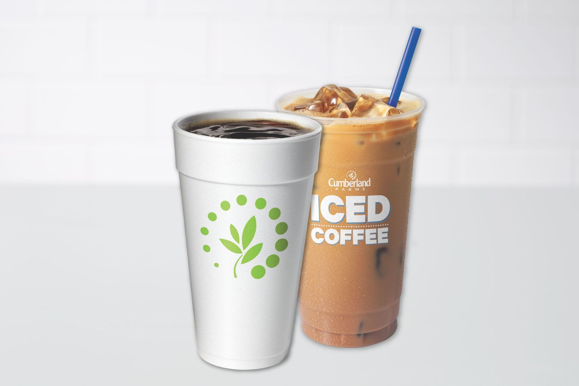 Cumberland Farms farmhouse coffee and iced coffee in two separate cups