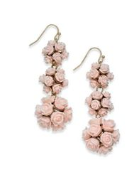 Image of I.N.C. Gold-Tone Rose Bouquet Triple Drop Earrings, Created for Macy's
