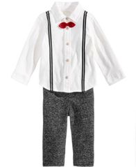 Image of First Impressions 2-Pc. Suspenders Shirt & Pants Set, Baby Boys (0-24 months), Created for Macy's