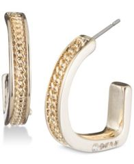"Image of DKNY Chain Textured 3/4"" Hoop Earrings, Created for Macy's"