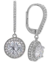 Image of Giani Bernini Cubic Zirconia Halo Drop Earrings in Sterling Silver