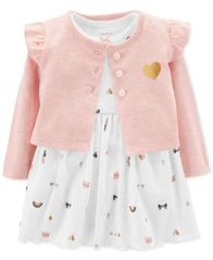 Image of Carter's Baby Girls 2-Pc. Heart-Print Bodysuit Dress & Cardigan Set
