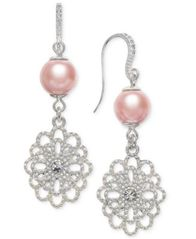 Image of Charter Club Silver-Tone Crystal Filigree & Imitation Pearl Drop Earrings, Created for Macy's