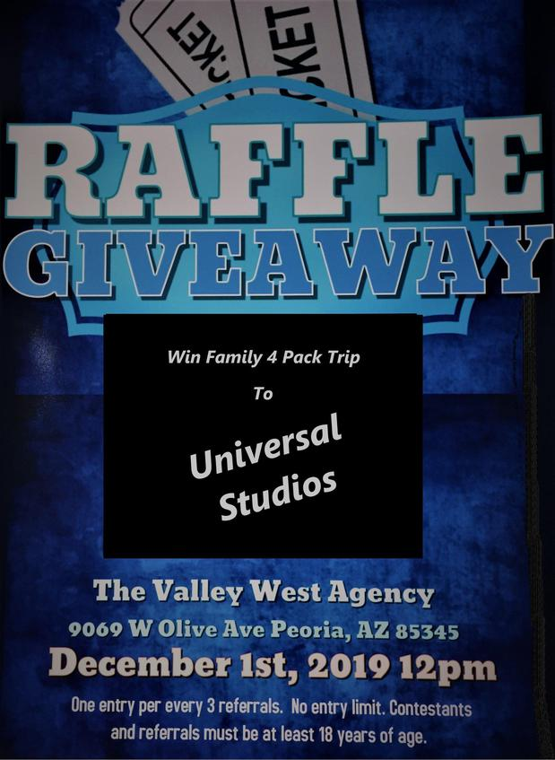 The Valley West Agency - Annual Trip Drawing - Universal Studios