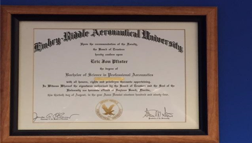 Diploma from Embry Riddle Aeronautical University