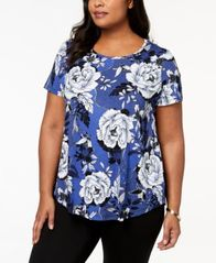 Image of JM Collection Plus Size Printed T-Shirt, Created for Macy's