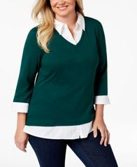 Image of Karen Scott Plus Size Cotton Layered-Look Top, Created for Macy's