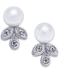 Image of Danori Silver-Tone Imitation Pearl and Crystal Stud Earrings, Created for Macy's