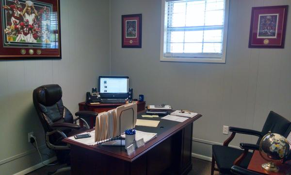 Nathan's office. Can you tell he's an Alabama fan?!
