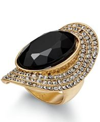 Image of INC International Concepts Gold-Tone Large Stone Halo Statement Ring, Created for Macy's