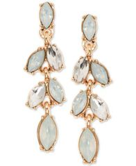 Image of Anne Klein Gold-Tone Crystal Linear Drop Earrings
