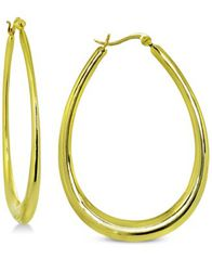 Image of Giani Bernini Graduated Oval Hoop Earrings in 18k Gold-Plated Sterling Silver, Created for Macy's