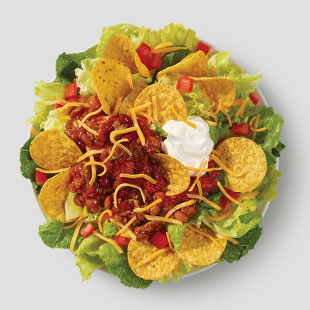 Taco salad made with Wendy's famous chili