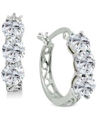 Image of Giani Bernini Cubic Zirconia Hoop Earrings in Sterling Silver, Created for Macy's