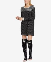 Image of Layla Mixed-Print Knit Sleepshirt & Socks Set