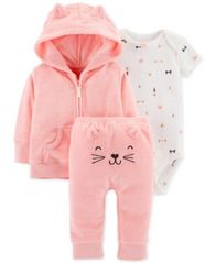 Image of Carter's Baby Girls 3-Pc. Kitten Cardigan, Bodysuit & Pants Set