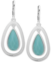 Image of Anne Klein Silver-Tone Stone Orbital Drop Earrings