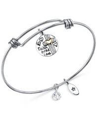 Image of Unwritten Two-Tone Faith Disc Bangle Bracelet in Stainless Steel with Silver-Plate and Gold-Plate