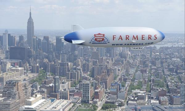 Farmers Air Ship in action over The Big Apple