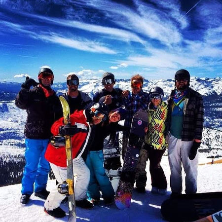 Snowboarding with the crew