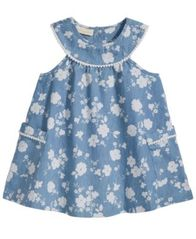 Image of First Impressions Floral-Print Denim Dress, Baby Girls, Created for Macy's