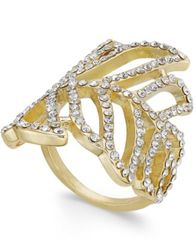 Image of INC International Concepts Gold-Tone Pavé Leaf Ring, Created for Macy's