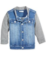 Image of First Impressions Denim Bomber Jacket, Baby Boys, Created for Macy's