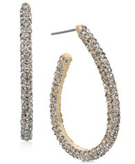 Image of Charter Club Gold-Tone Pavé Elongated Hoop Earrings, Created for Macy's