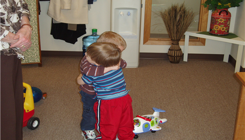 Two of my grandsons hugging, many years ago - priceless